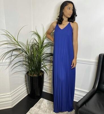 Azure Pleated Maxi Dress-Cobalt