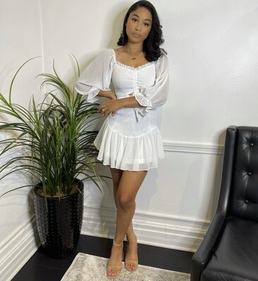 Pebbles Mini Dress-White