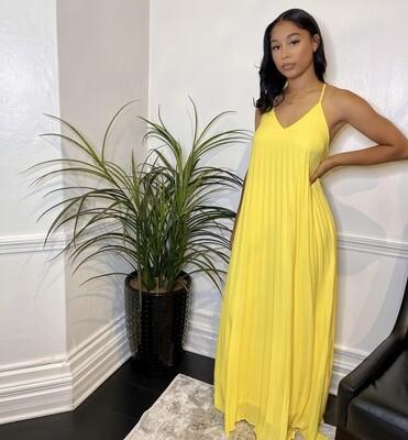Azure Pleated Maxi Dress-Yellow