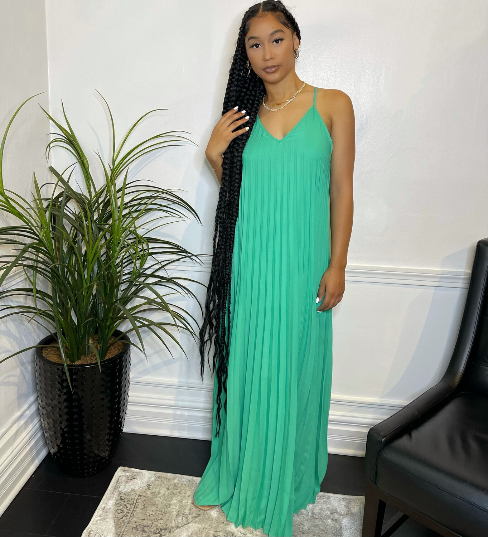 Azure Pleated Maxi Dress-Green