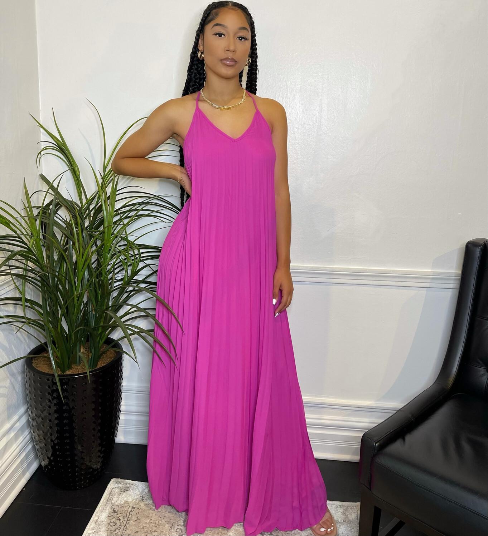 Azure Pleated Maxi Dress-Magenta