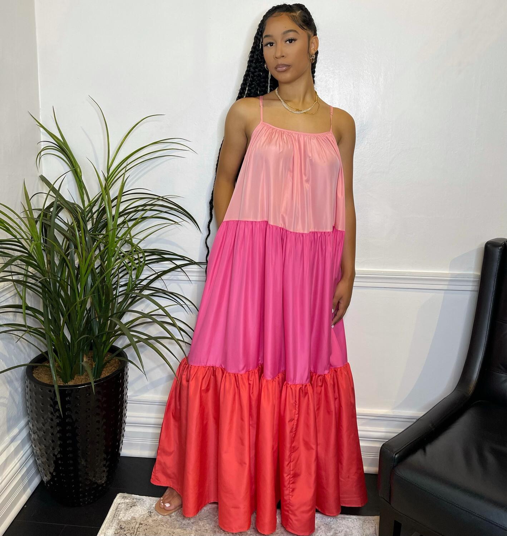 Sunset Drive Maxi Dress-Red