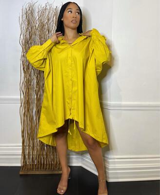 Kira Oversized Top W/ Drawstring-Mustard