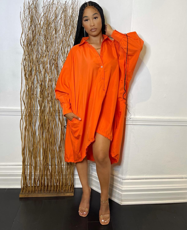 Kira Oversized Top W/ Drawstring-Orange