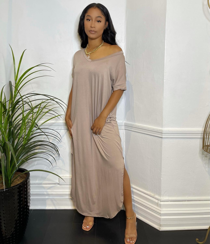 EZ-Tee Long Dress-Ash Mocha