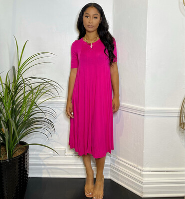 Swing Out Dress-Hot Pink