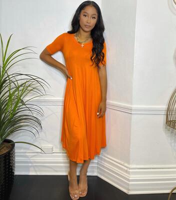 Swing Out Dress-Orange