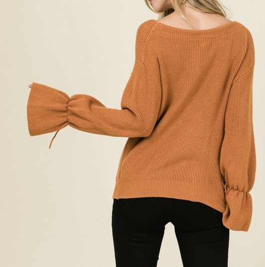 Baby It's Cold Sweater Caramel Back View