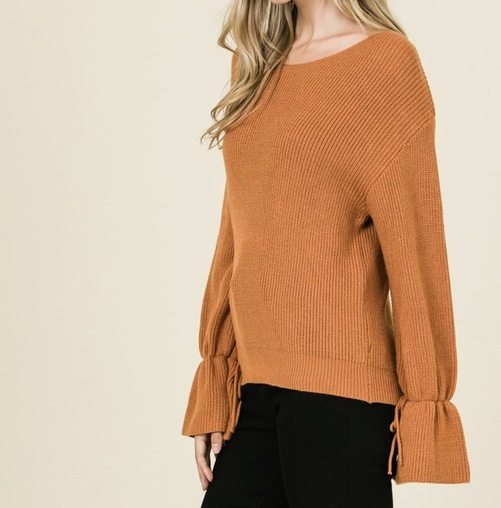 Baby It's Cold Sweater Caramel Side View