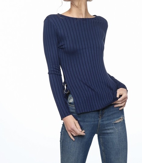 Blueberry Mist Ribbed Top Front View