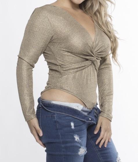 Tasha Shimmer Bodysuit Gold Side View