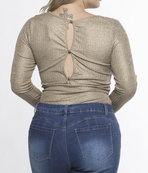 Tasha Shimmer Bodysuit Gold Back View