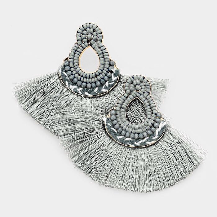 Mira Mira Tassel Earrings Grey
