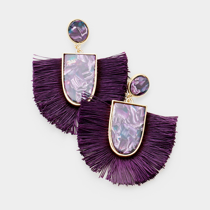 Kamari Tassel Earrings Eggplant