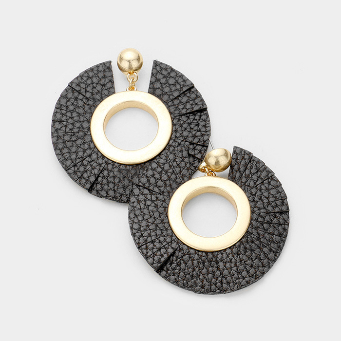 Roni Leather Earrings Black