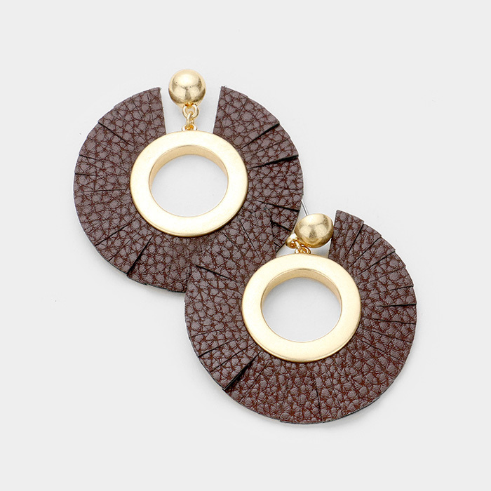Roni Leather Earrings Brown