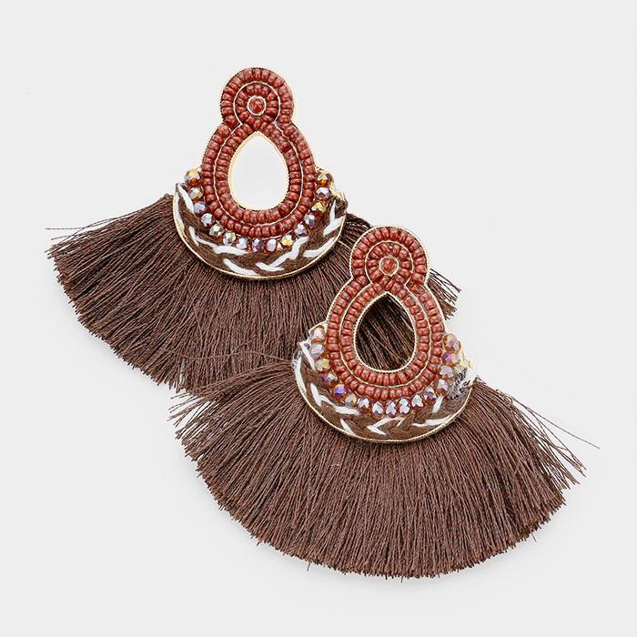 Mira Mira Tassel Earrings Brown