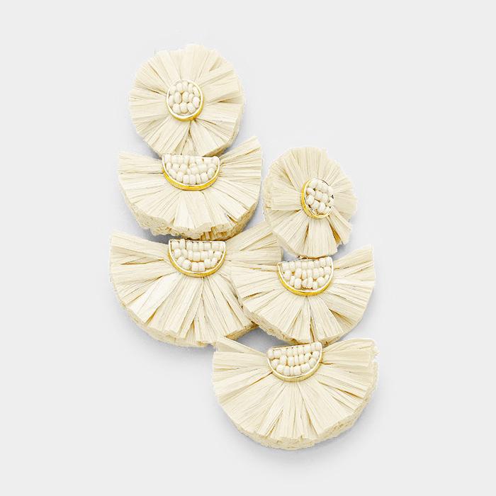 Zambia Raffia Earrings Cream