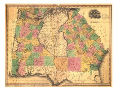 1823 Tanner Map of Alabama and Georgia