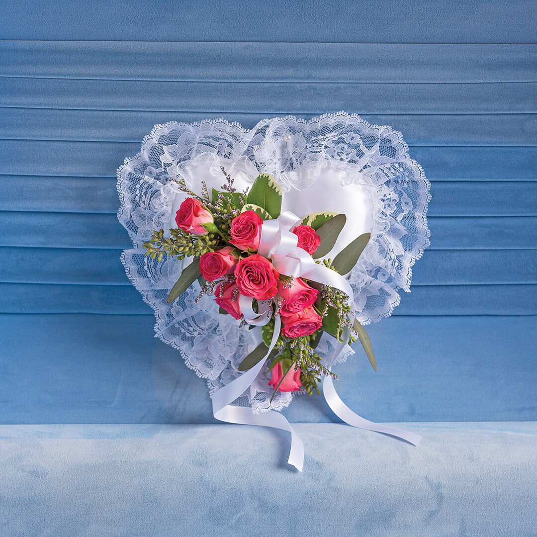 Satin Heart with Pink Spray Roses