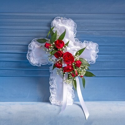 Satin Cross with Red Spray Roses