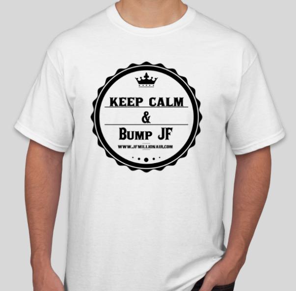 Bump Jf T-Shirt (White T Black logo) Medium Short Sleeve