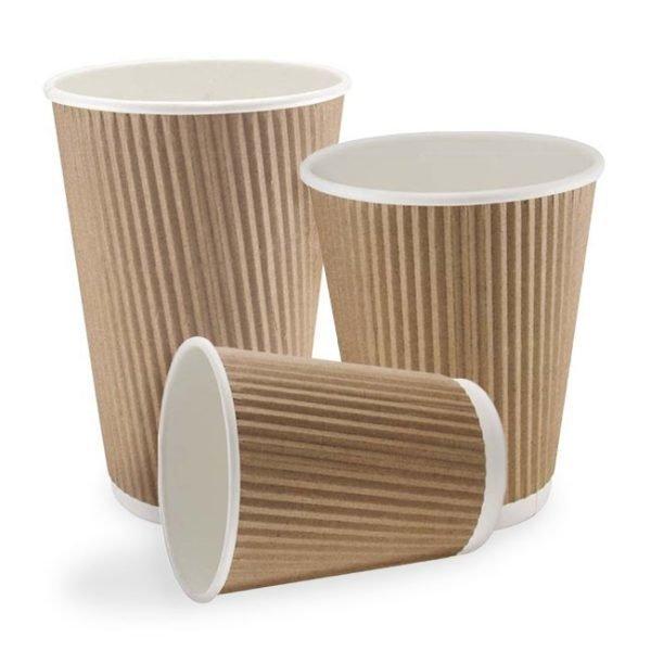 16oz Kraft Double Walled Ripple Paper Cups (1 X 500)