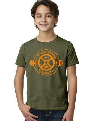 Flaming Gorge Crossfit Youth Tee Green with Orange Design