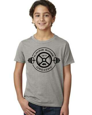 Flaming Gorge Crossfit Youth Grey Tee with Black Design