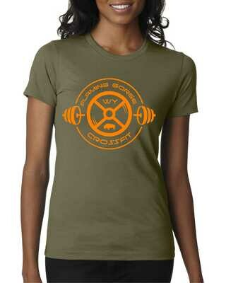 Flaming Gorge Crossfit Women's Green Tee with Orange Design