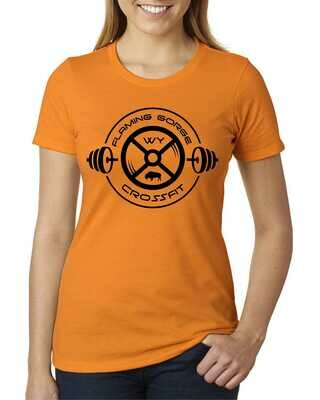 Flaming Gorge Crossfit Women's Orange Tee with Black Design