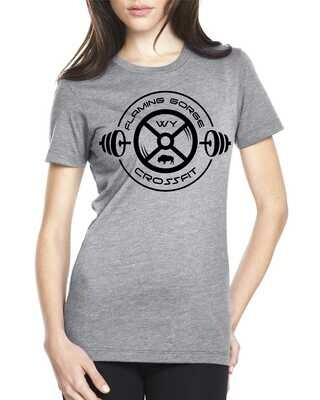 Flaming Gorge Crossfit Women's Gray Tee with Black Design