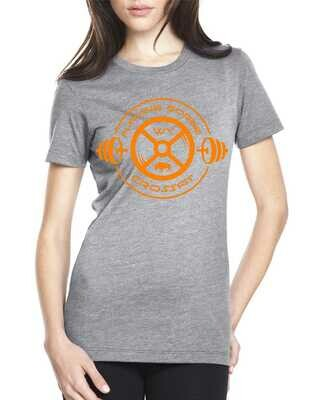 Flaming Gorge Crossfit Women's Gray Tee with Orange Design