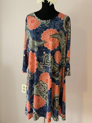 Coral / Denim Dress