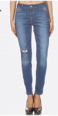 JVINI Distressed Medium Wash Skinny
