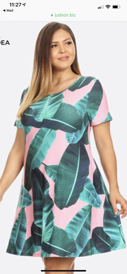 Pink And Green Leaf Plus Dress