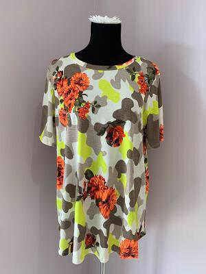 Floral Neon Green & Grey Camo Tshirt