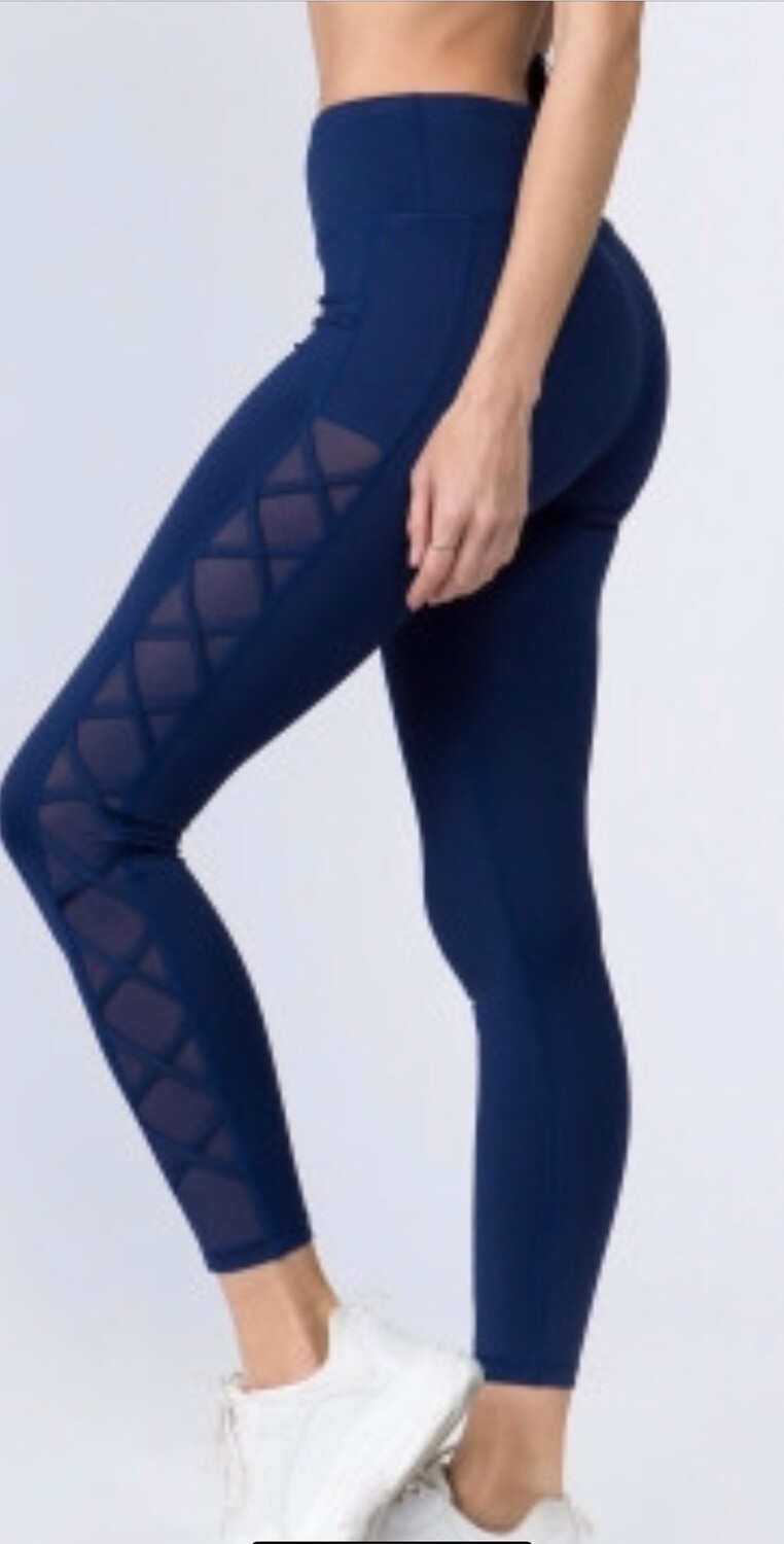 High Rise Leggings With Side Lace Up Mesh
