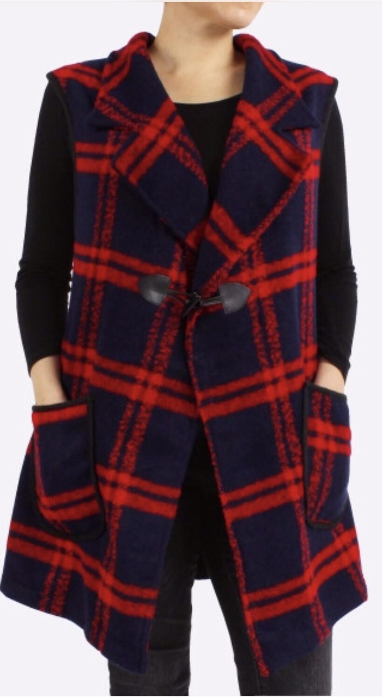Sleeveless Red & Navy Vest