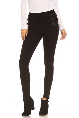 Faux Leather Design Ponte Skinny