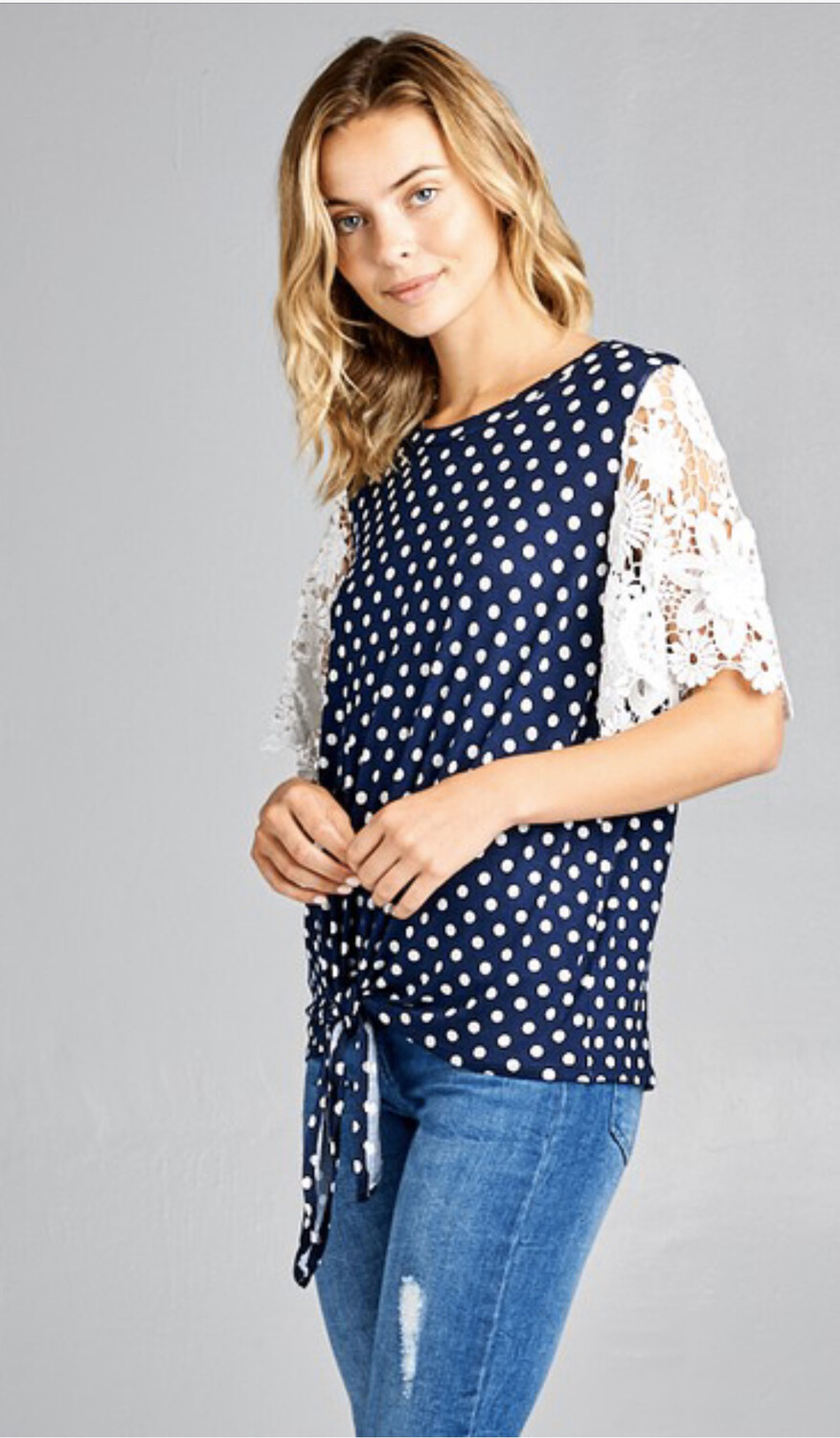 Navy Polka Dot/lace Sleeve Top