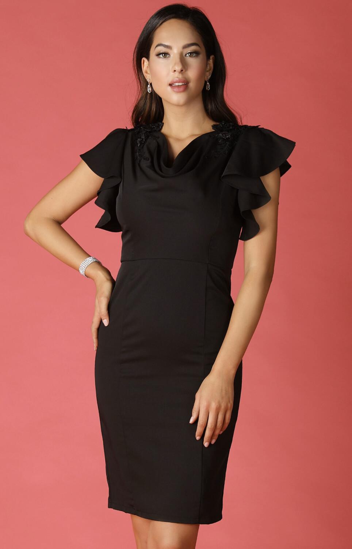 Black Cocktail Dress With Shoulder