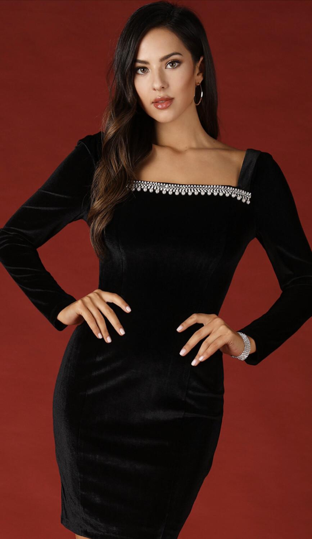 Black Crushed Velvet Dress W/ Rhinestone