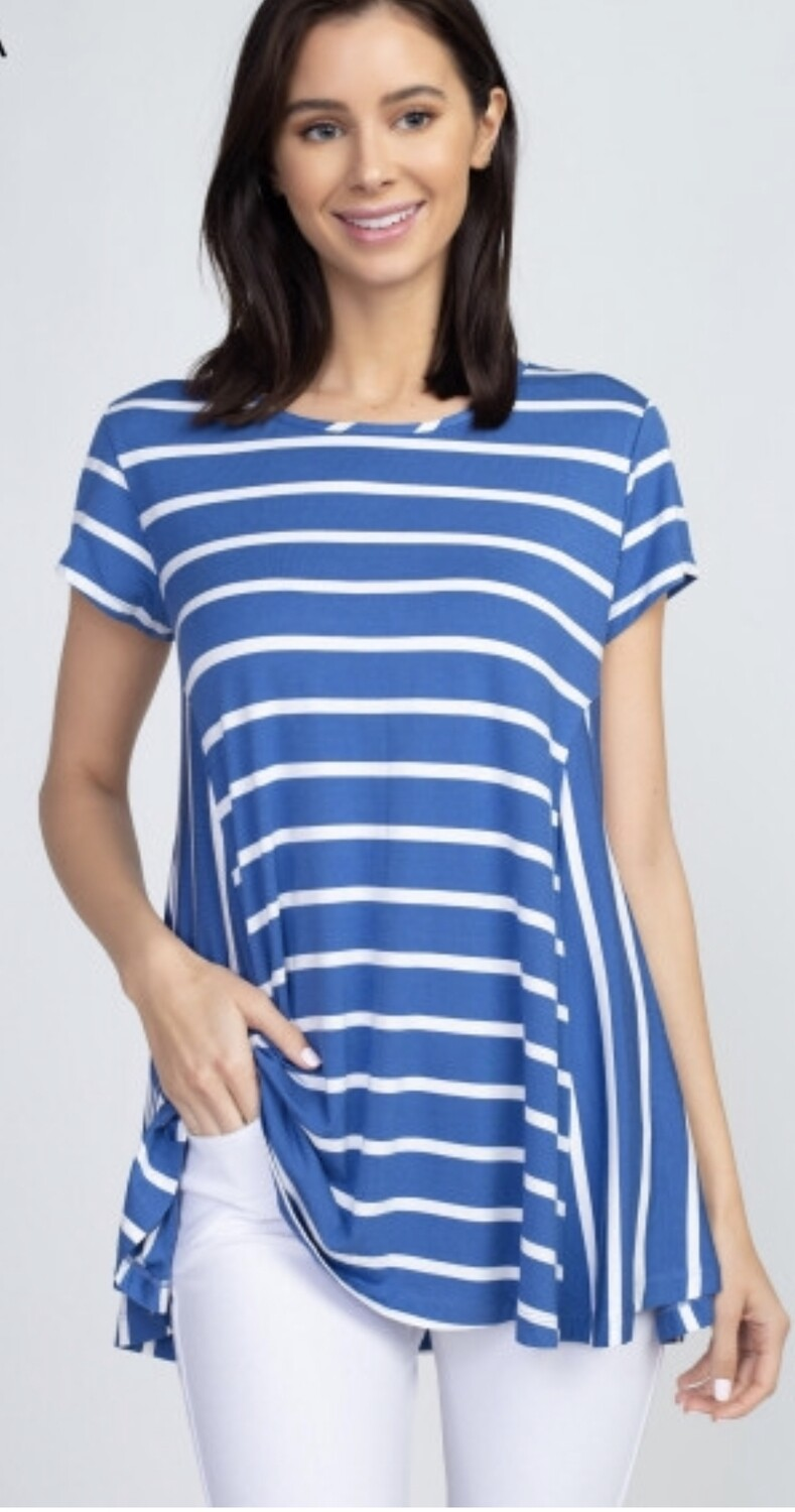 Blue/white Striped Plus Top