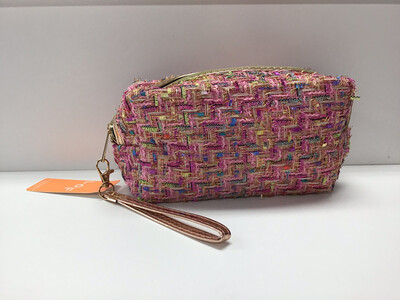 Multi Color Tweed Cosmetic Bag