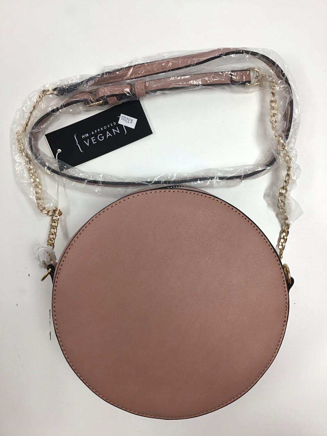 Round Vegan Leather Crossbody Bag