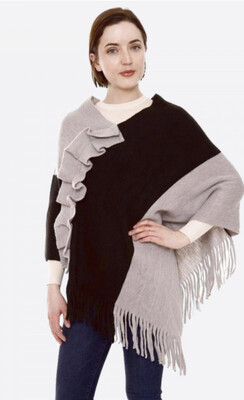 Color Ruffle Pinch With Fringes