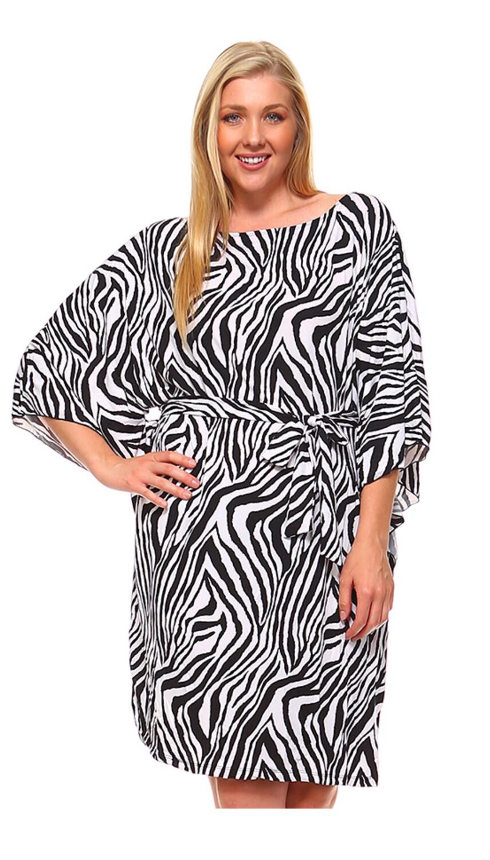 Zebra Plus Dress W/ Tie