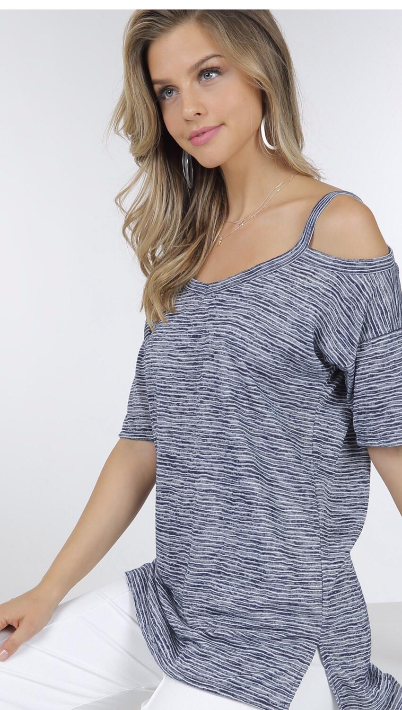 Striped Open Shoulder Top