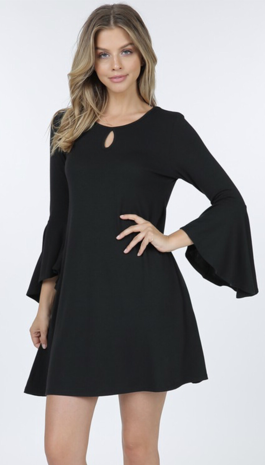 Keyhole Bell Sleeve Dress